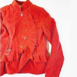 Oleg Cassini Wool Blend Ruffle Asymmetrical Jacket